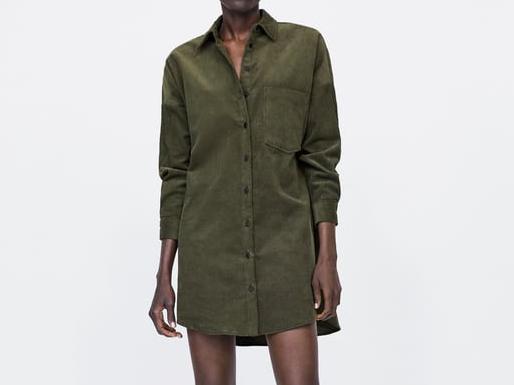 Zara CORDUROY SHIRT DRESS