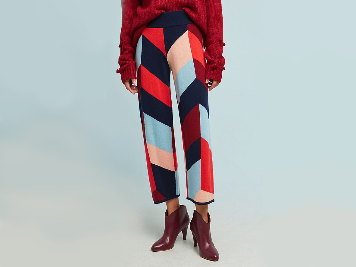 anthropologie Colorblocked Sweater Pants
