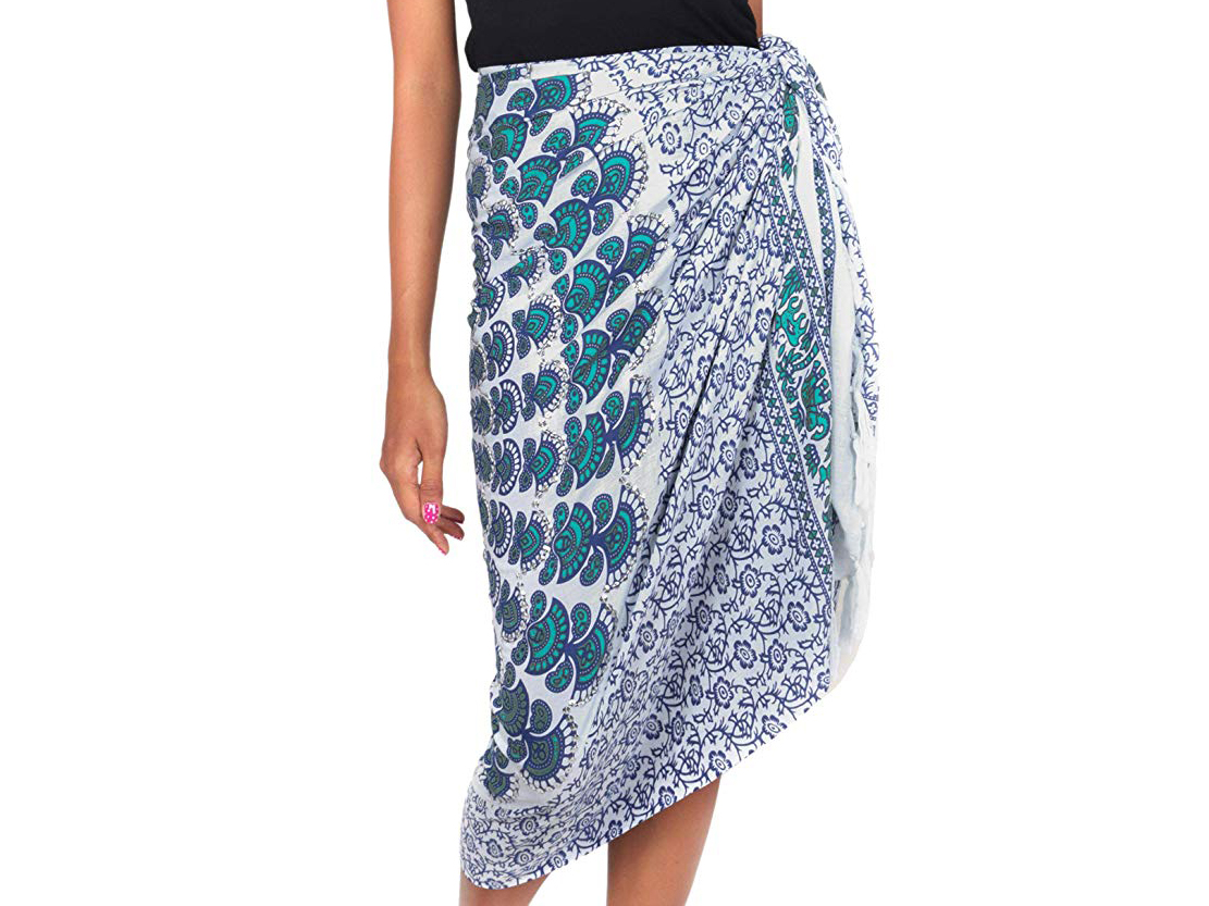 NOVICA Blue and White 100% Rayon Batik Sarong, Aqua Sunshine