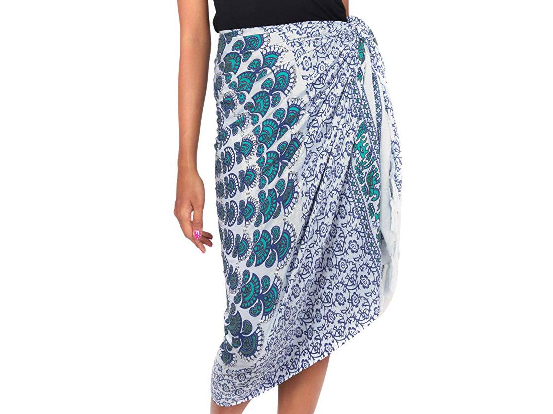 NOVICA Blue and White 100% Rayon Batik Sarong, Aqua Sunshine