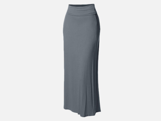 Made by Emma Women's Stylish Fold Over Flare Long Maxi Skirt.