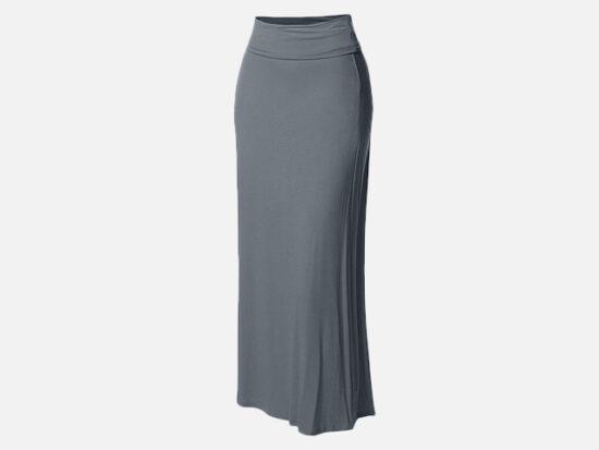 Made by Emma Women's Stylish Fold Over Flare Long Maxi Skirt.