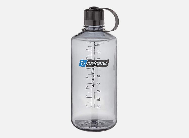 Nalgene Translucent Narrow Mouth Bottle with Gray Lid.