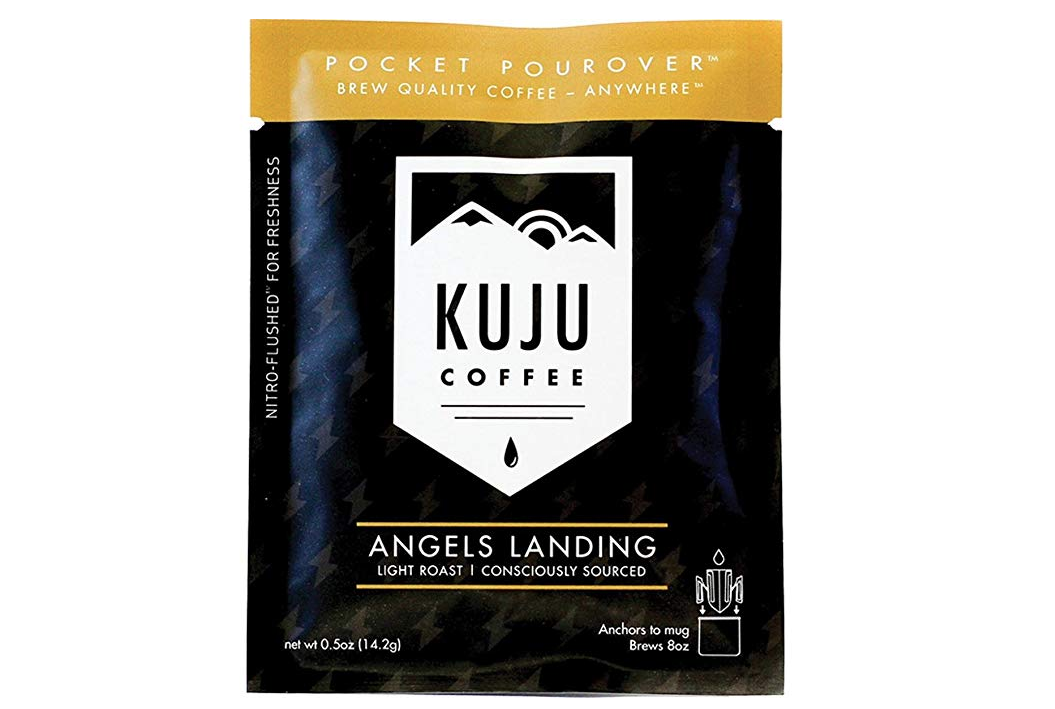 "Kuju Pocket PourOver is an organic, small-batch roasted, specialty coffee, inside a filter that anchors to your mug. Each pouch is Nitro-Flushed to ensure a truly fresh, quality brew and is 70% less wasteful than French press style ""bags""."
