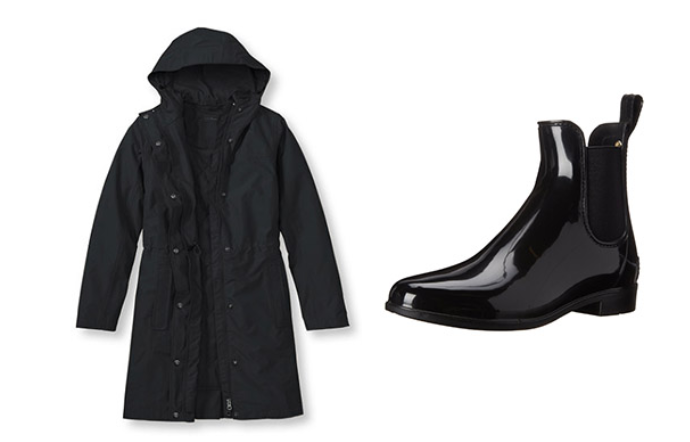 Rain jacket and waterproof ankle boots.