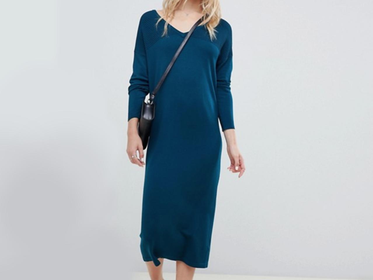 ASOS DESIGN Midi Sweater Dress With V Neck And Ripple Stitch