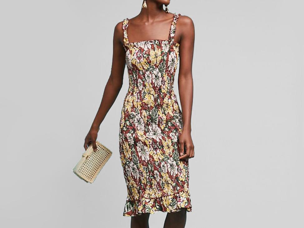 anthropologie Faithfull Smocked Linen Dress