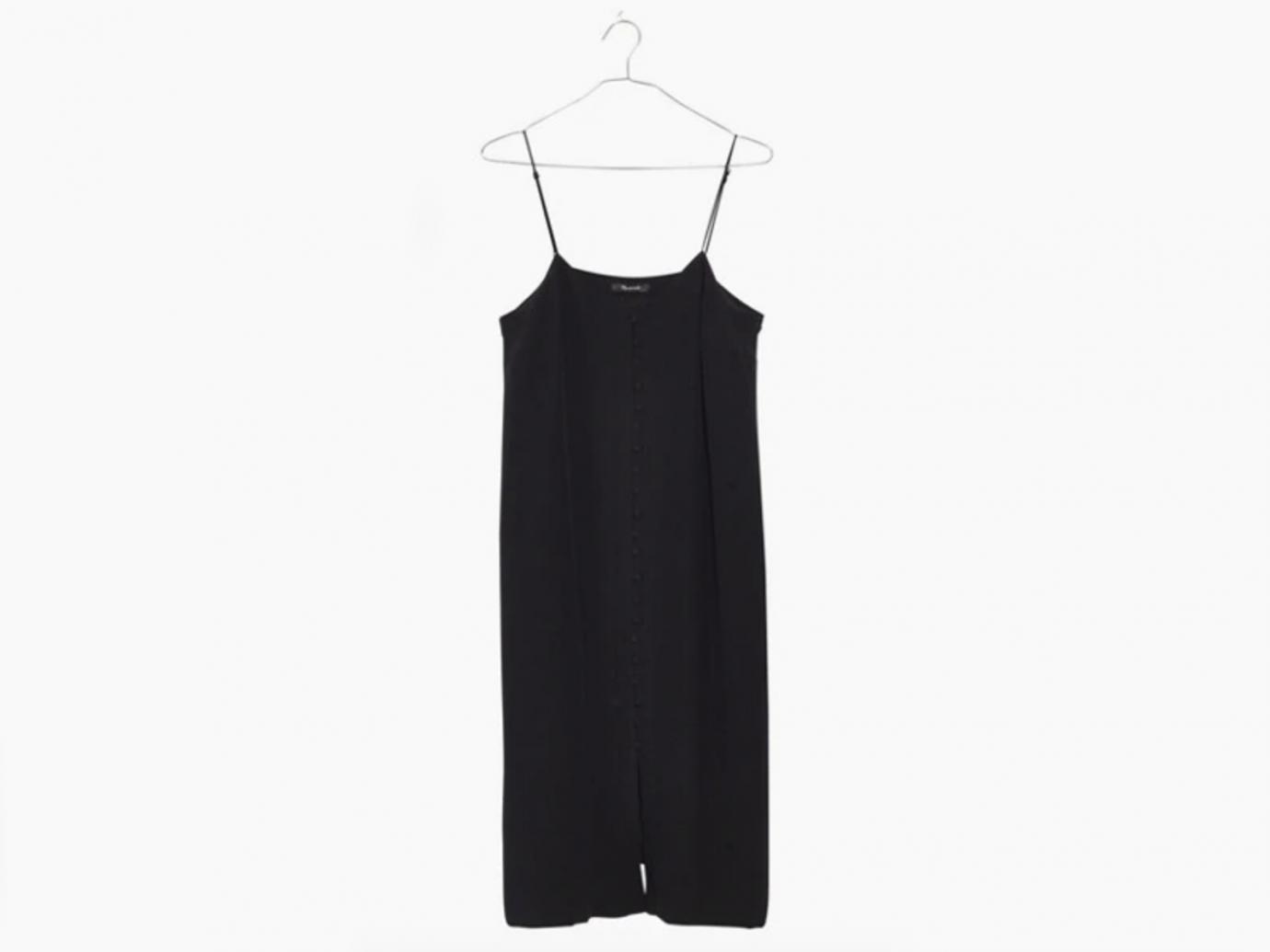 Silk Button-Front Slip Dress madewell