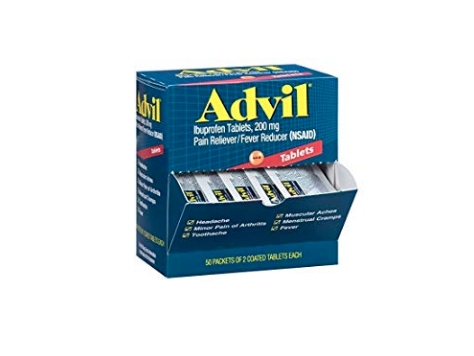 Advil (100 Packets of 2 Capsules) Pain Reliever/Fever Reducer Coated Tablet, Individually Sealed