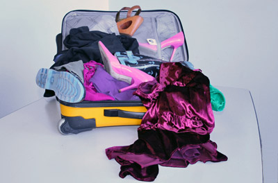 Overflowing suitcase