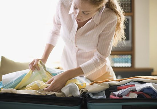 Women folding clothes