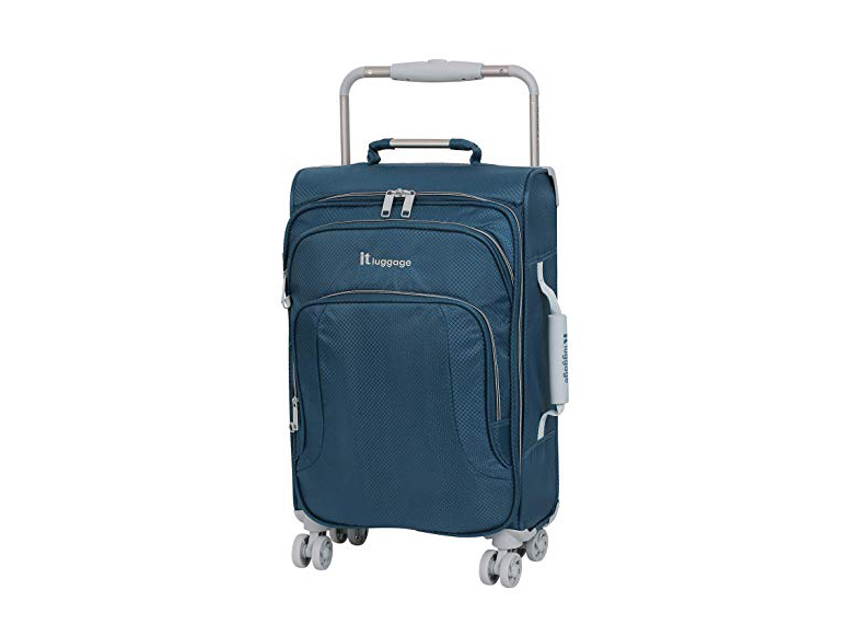 "IT Luggage 22"" World's Lightest 8 Wheel Spinner, Ashes with Vapor Blue Trim"
