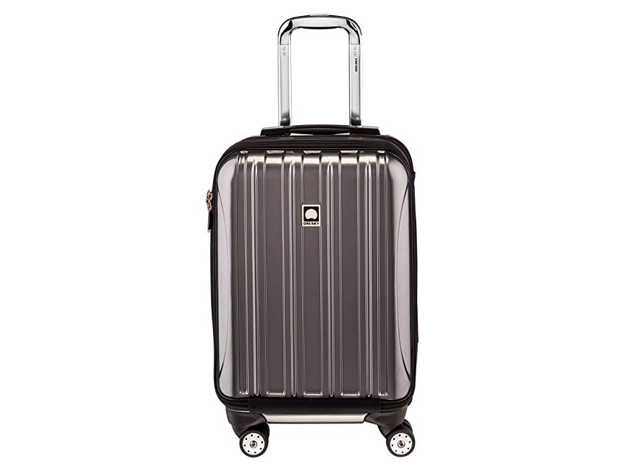 Delsey Luggage Helium Aero, International Carry On Luggage, Front Pocket Hard Case Spinner Suitcase