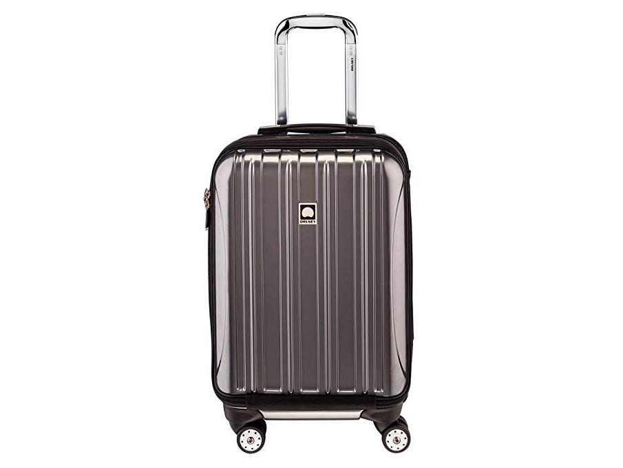 Delsey Luggage Helium Aero, International Carry On Luggage, Front Pocket Hard Case Spinner Suitcase