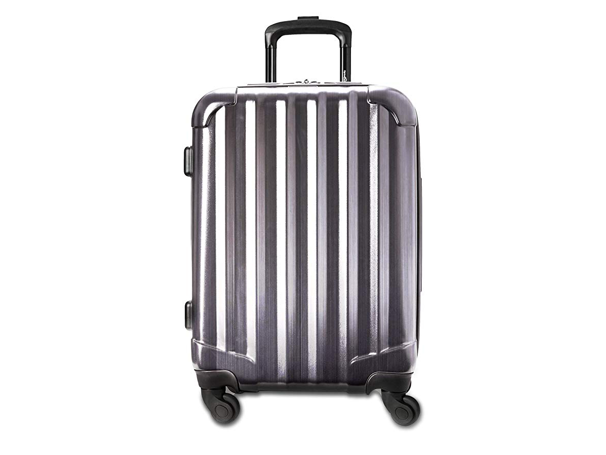 "Genius Pack 21"" Aerial Hardside Carry On Luggage Spinner - Smart, Organized, Lightweight Suitcase (Brushed Chrome)"