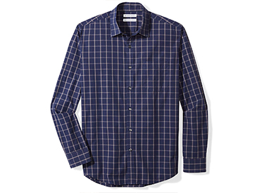 Amazon Essentials Men's Regular-Fit Long-Sleeve Plaid Casual Poplin Shirt.