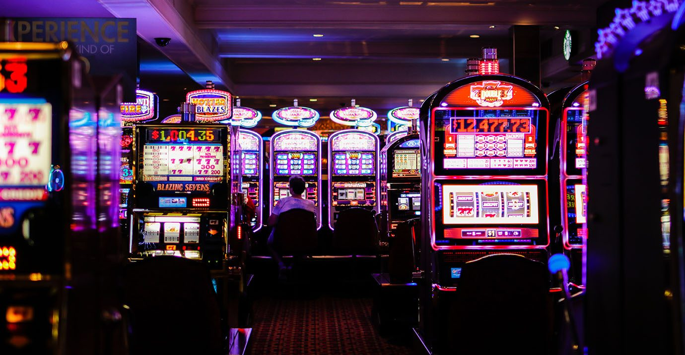 Scene of a casino with slot machines