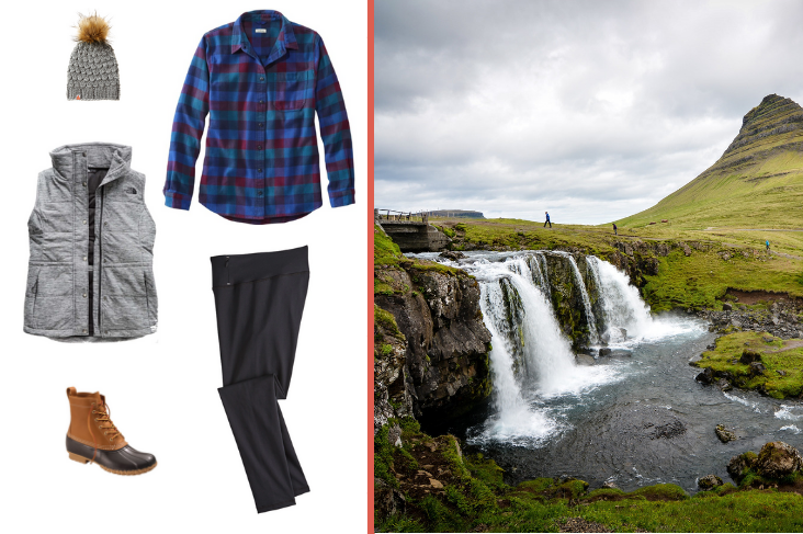 Iceland outfit inspiration: flannel, leggings, puffy vest.