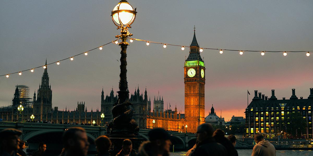 London Nighttime Big Ben Street Scene