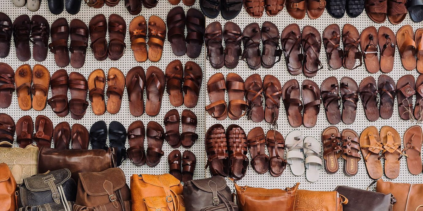 Wall of leather sandals