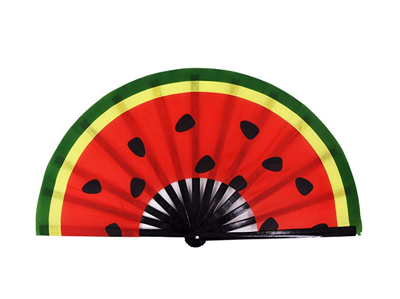 Amajiji Large Folding Fan, Chinease/Japanese Bamboo and Nylon-Cloth Folding Hand Fan