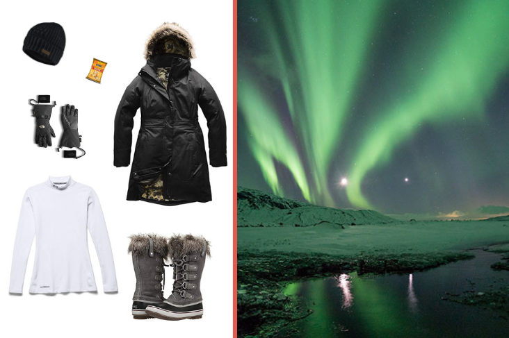 Iceland outfit inspiration for Northern Lights tour: Parka, turtleneck, insulated boots, hat, gloves, hardwarmers