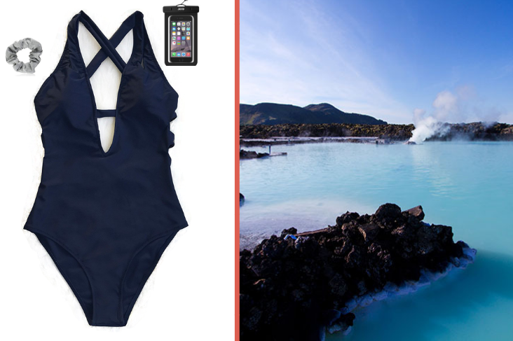 What to wear to the Blue Lagoon: swimsuit, scrunchie.