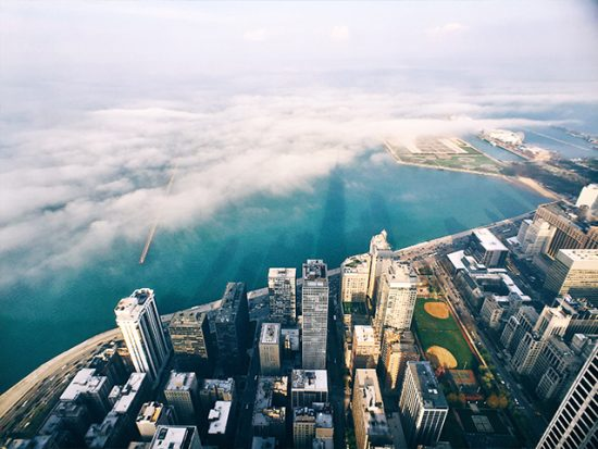 Chicago aerial city view