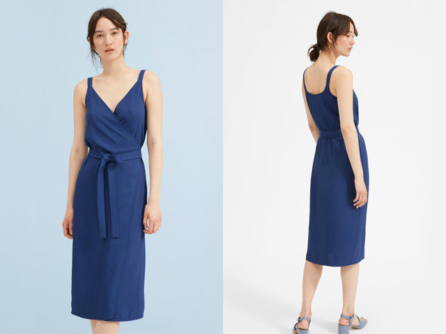Everlane Royal Blue The Japanese GoWeave Tank Wrap Dress