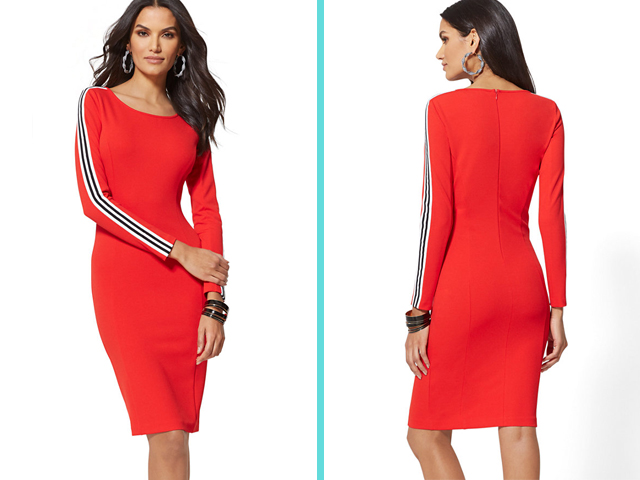 New York & Company 7TH AVENUE - RED SIDE-STRIPE SHEATH DRESS