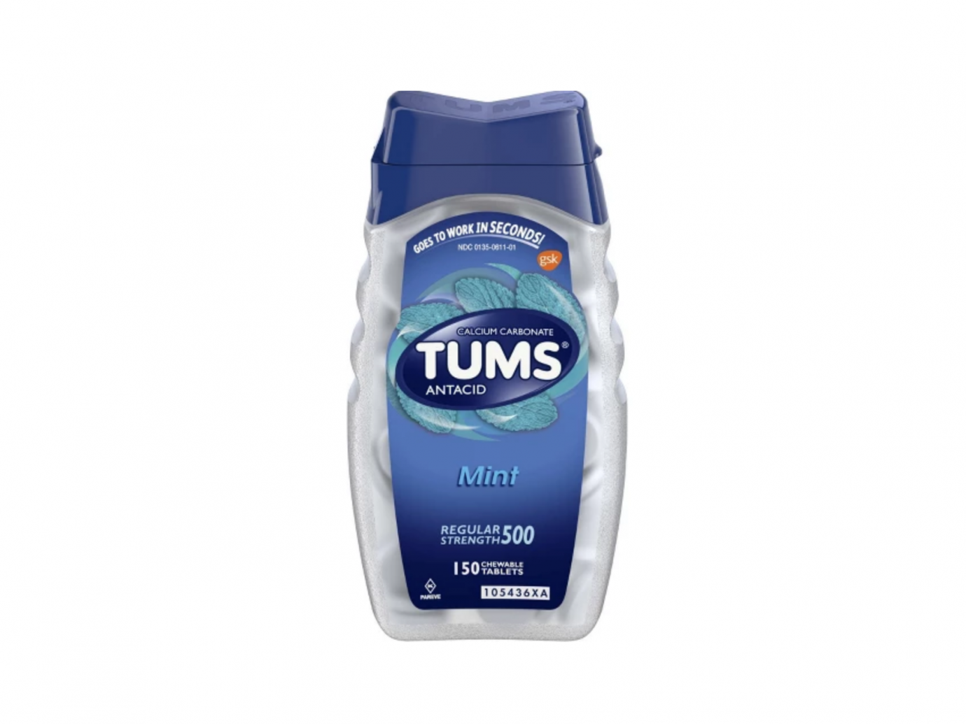 TUMS® Regular Strength Peppermint Antacid Chewable Tablets