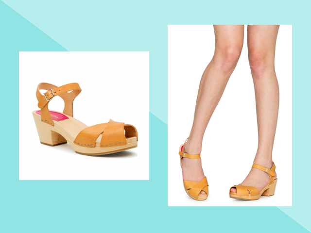 Travel Heels Swedish Hasbeen's classic Mirja sandals yellow clogs
