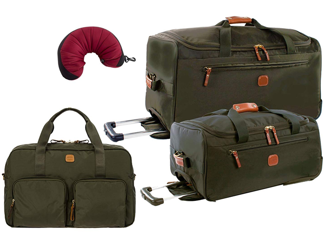 "Bric's X-Travel 4 Piece Set | 21"" and 28"" Rolling Duffle, 18"" Boarding Duffle, Travel Pillow (Olive)"