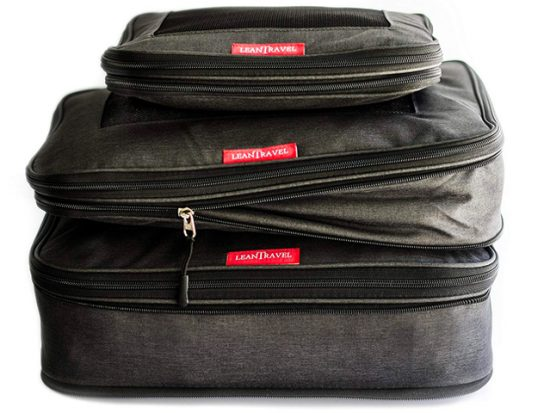 LeanTravel Compression Packing Cubes Luggage Organizers for Travel W/Double Zipper (6) Set