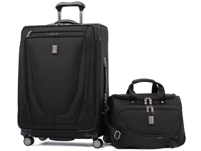 "Luggage Travelpro Crew 11 2 Piece Set (25"" Spinner and Deluxe Tote) Black"