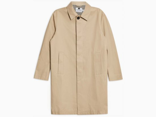Topman Men's Stone Single Breasted Trench Coat