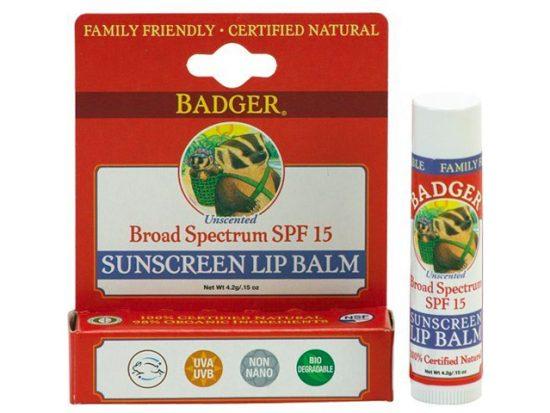 Badger Balm Broad Spectrum Sunscreen Lip Balm Stick - SPF 15