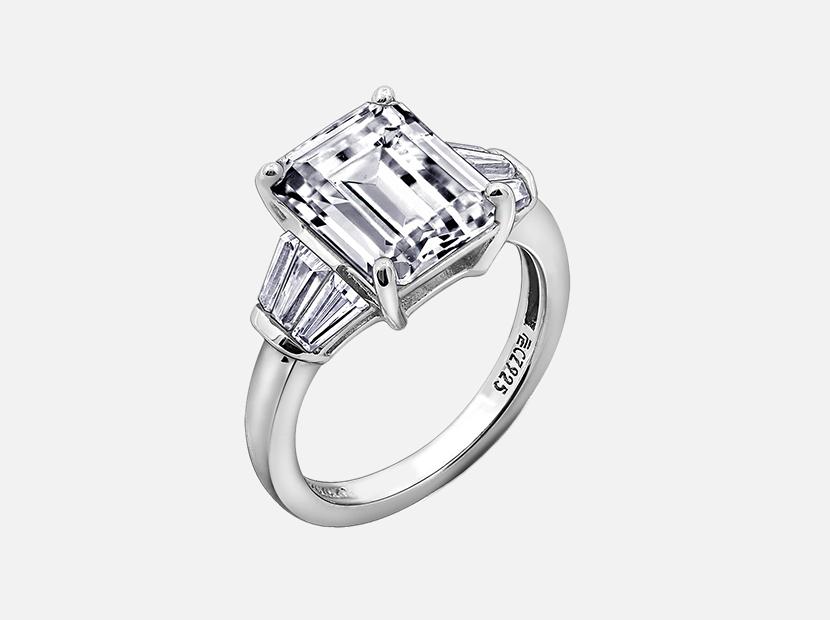 Diamonbliss Platinum Sterling Silver Cubic Zirconia Emerald Cut Ring.