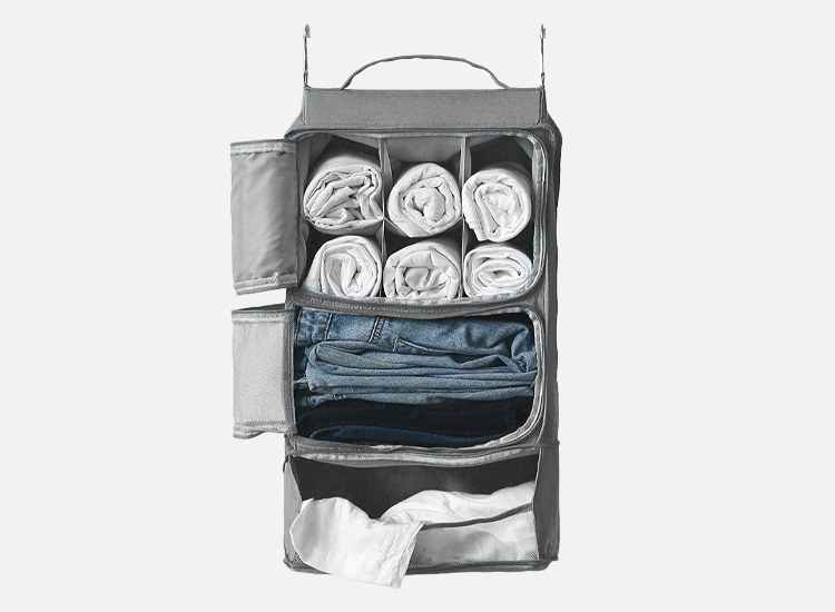 Hanging Portable Luggage Suitcase Closet Shelving Organizer.