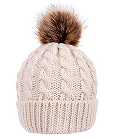 Cream colored pom pom hat