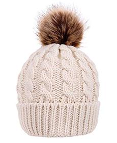 Cream colored pom pom hat