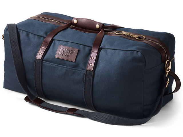 Lands End Waxed Canvas Duffle Bag