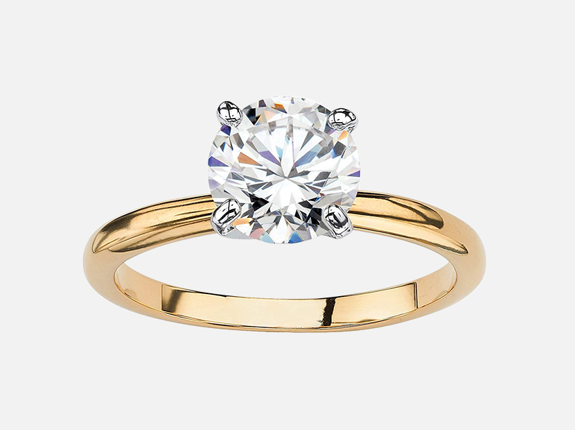 Palm Beach Jewelry 18K Yellow Gold Plated Round Cubic Zirconia Solitaire Engagement Ring.
