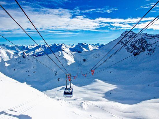 Ski Lift in a Snowy Mountain Range