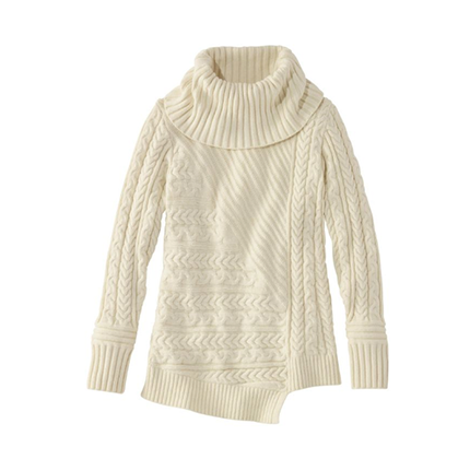 Cream Cowl Neck Sweater by LL Bean
