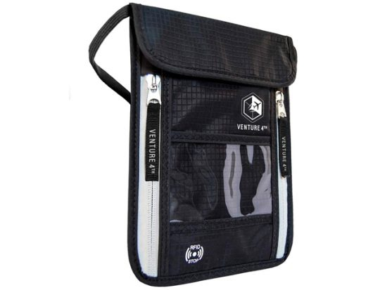 Venture 4th Travel Neck Pouch Neck Wallet with RFID Blocking – Passport Holder to Keep Your Cash And Documents Safe – Get Peace Of Mind When Traveling