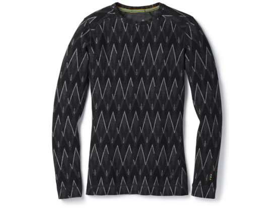Women's Merino 250 Base Layer Pattern Crew in Black Charcoal Heather
