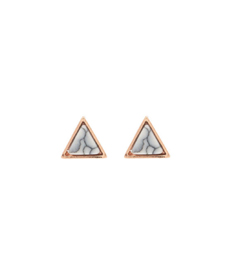 18kt Rose Gold Plated Marble Stud Earrings - 3 Pack