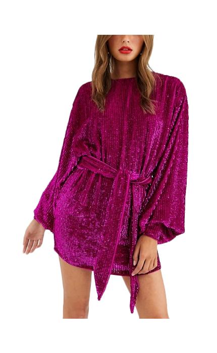 ASOS EDITION oversized blouson sleeve mini dress in sequin.