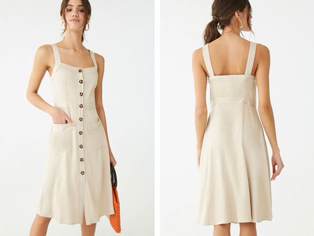 Forever21 Button-Front Knee-Length Dress